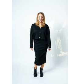 Luna Blue RD Style  - Cropped cardi with buttons (black)