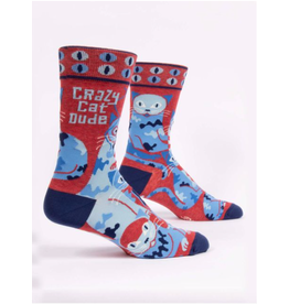 Blue Q Blue Q - Crazy Cat Dude crew socks (men's size)