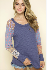 Emerson - Waffle knit top with boho print sleeves