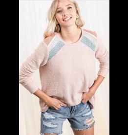 Wren - Brushed knit top with colour block shoulder detail (blush)