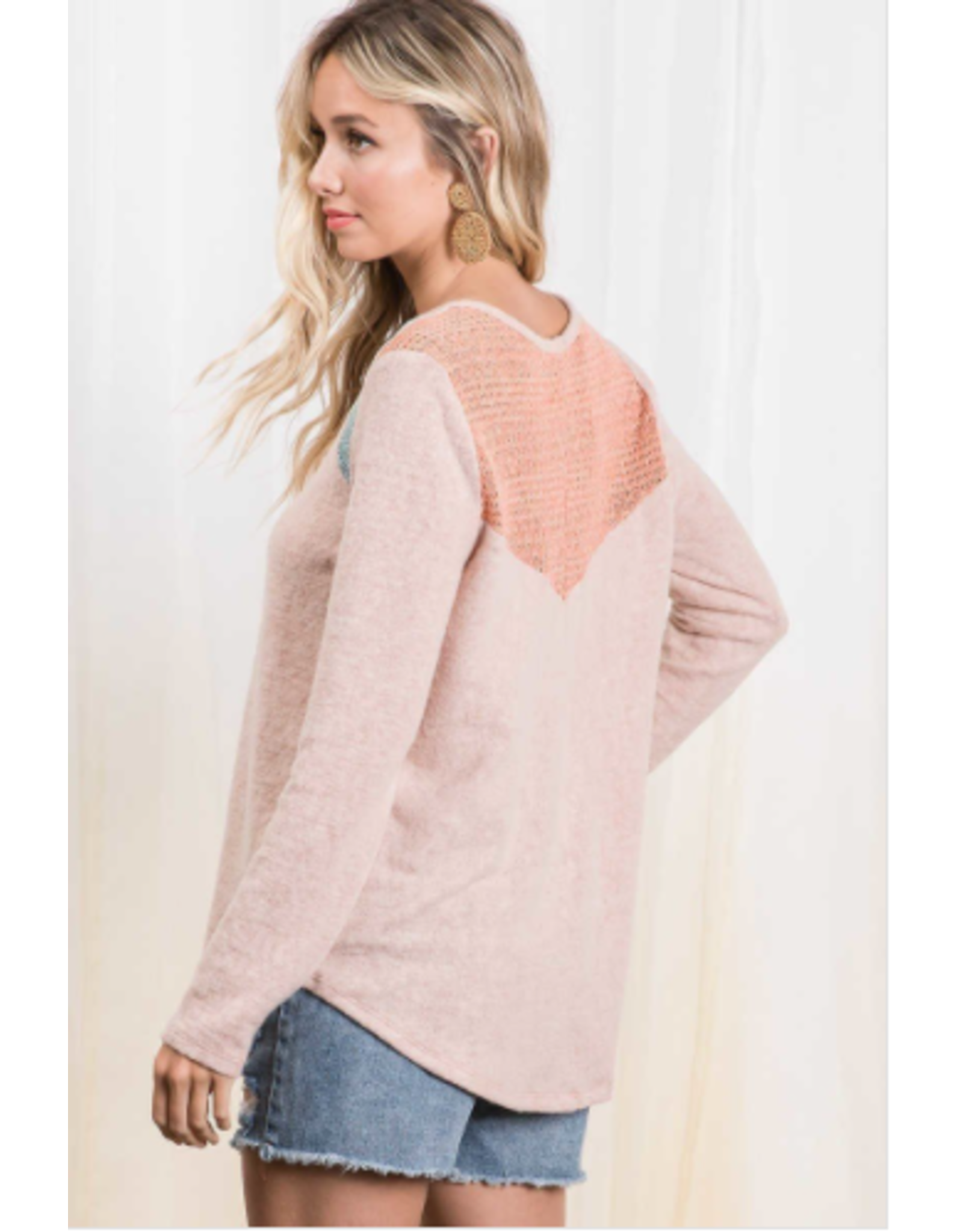 Wren - Brushed knit top with colour block shoulder detail (blush)