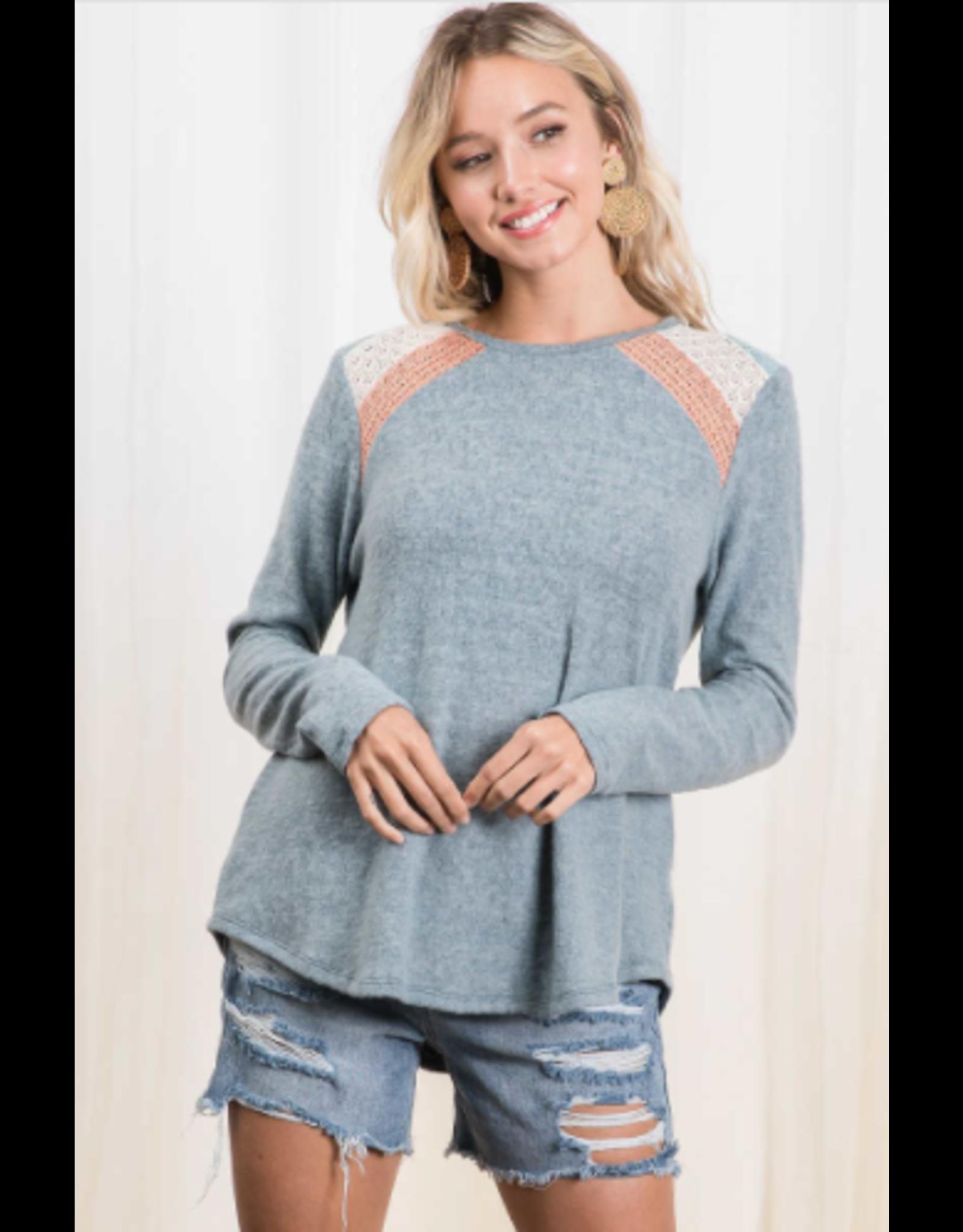 Wren - Brushed knit top with colour block shoulder detail (mint)