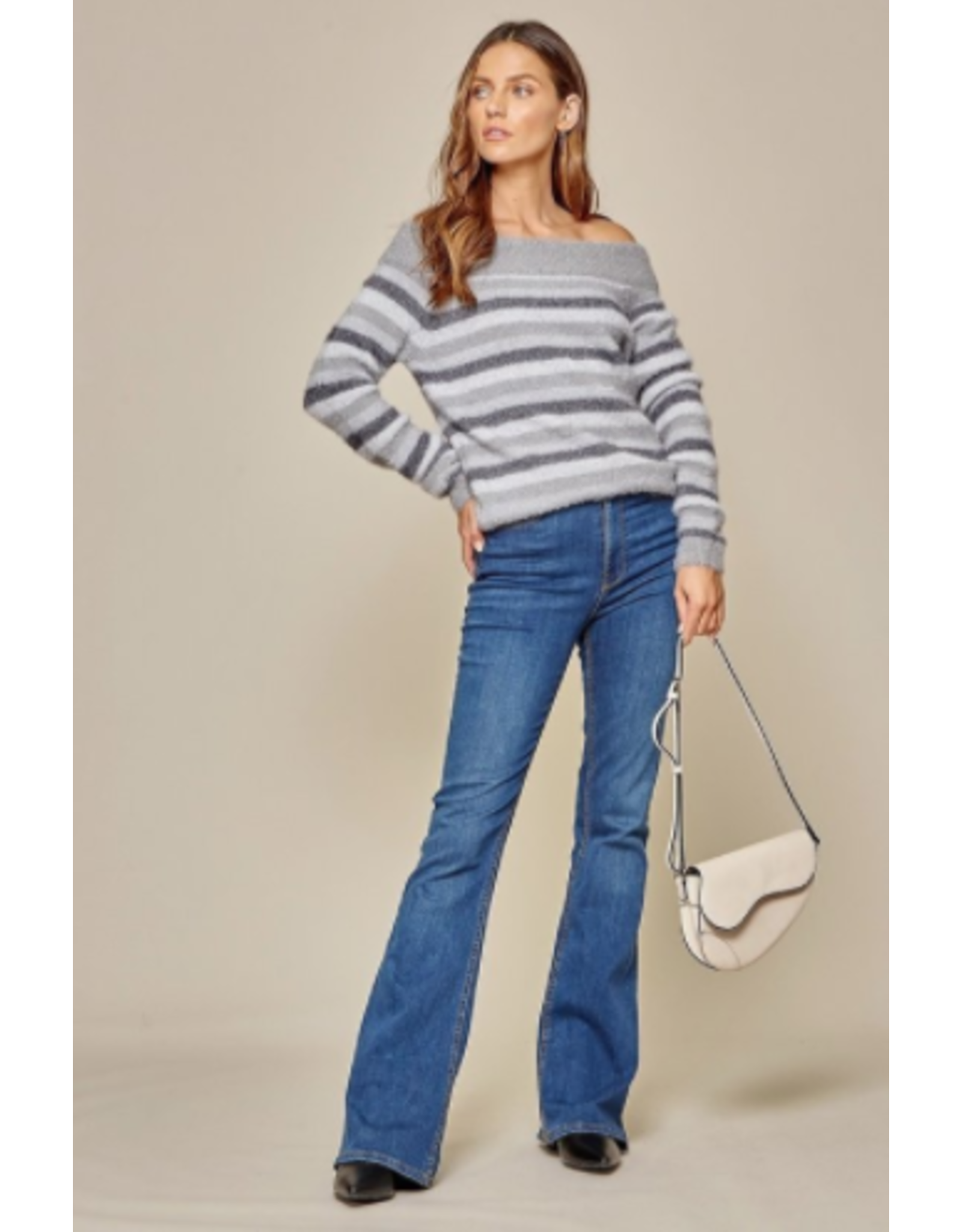 Monroe - Striped off the shoulder sweater