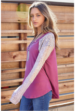 Greer - Top with contrast sleeves (orchid)