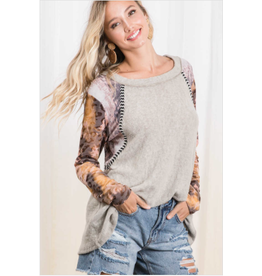 Juno - Brushed knit top with contrast sleeves