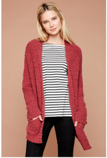 Neve - Textured cardi with patch pockets (rose)