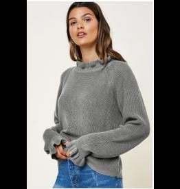 Margot - High neck sweater with ruffle trim (grey)