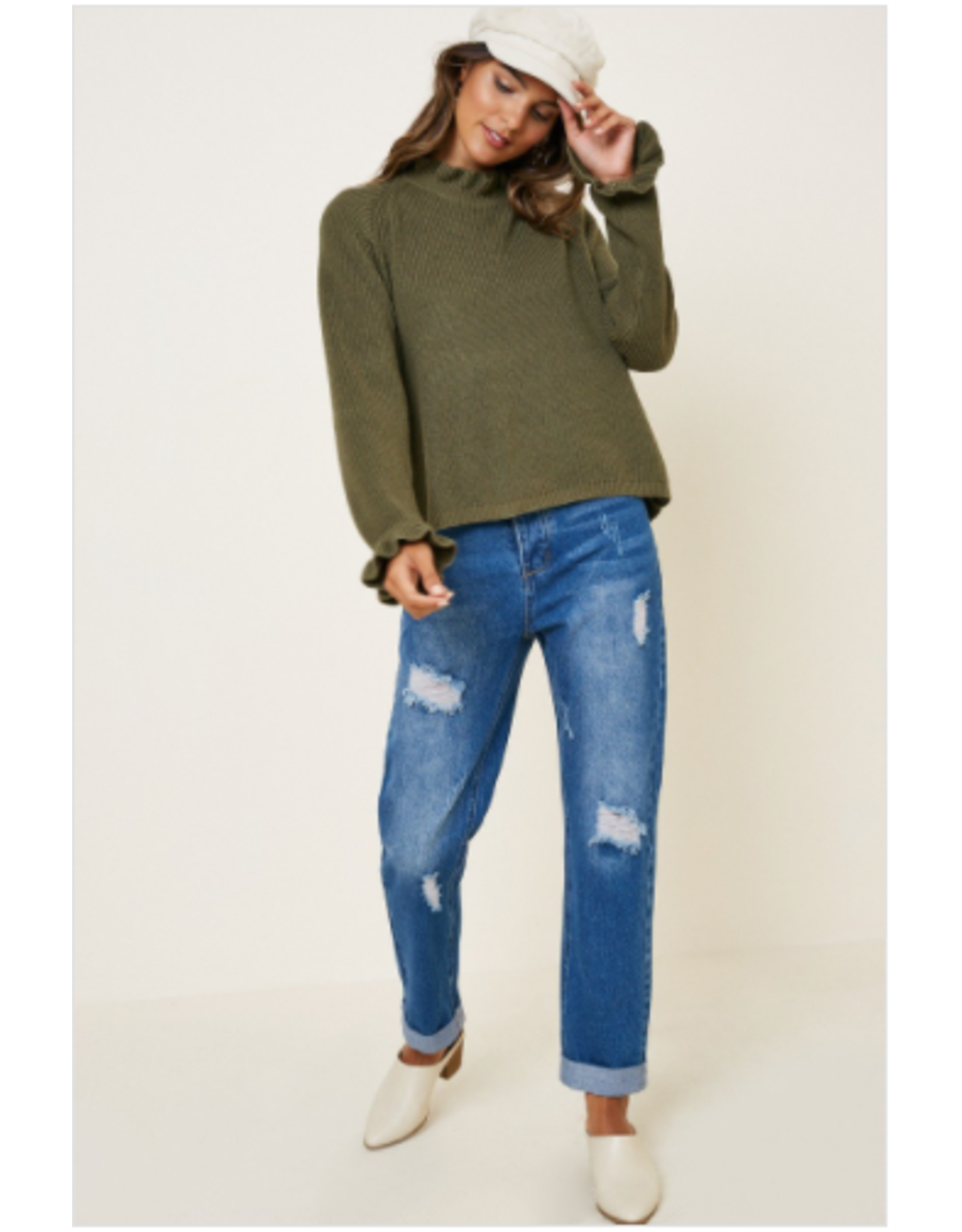 Margot - High neck sweater with ruffle trim (olive)