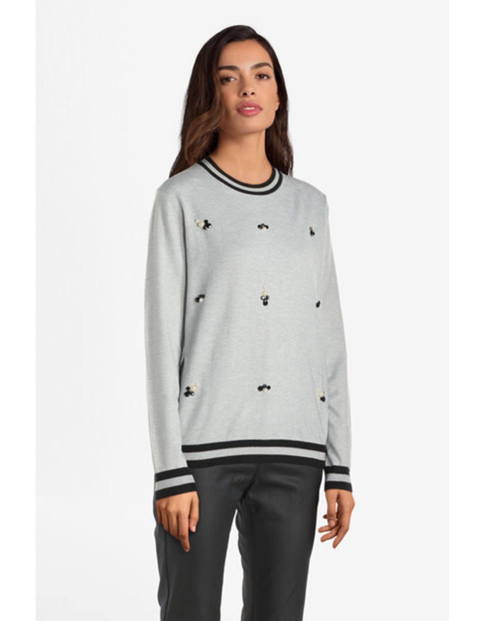 Molly Bracken Molly Bracken - Sweatshirt with Pearl Accents (ash)