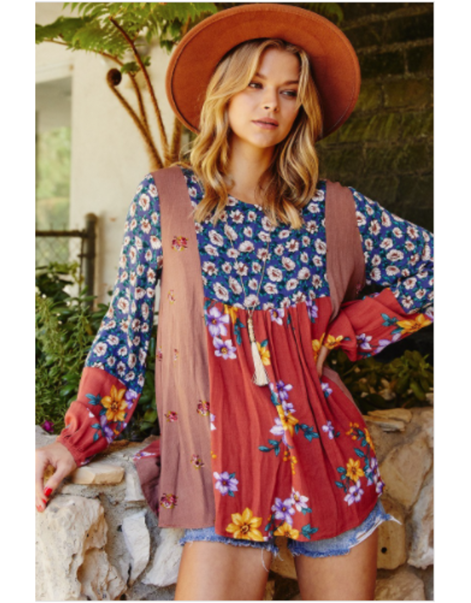 Zadie - Babydoll tunic with contrast prints
