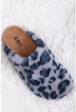 Evanne - Fuzzy sandals (grey leopard)