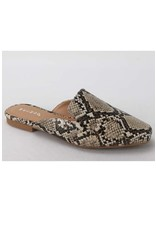 Sweep - Faux leather flat mules (snake)