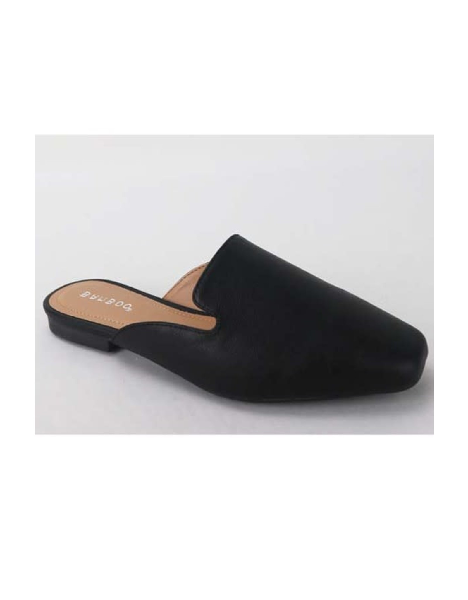 Sweep - Faux leather flat mules (black)