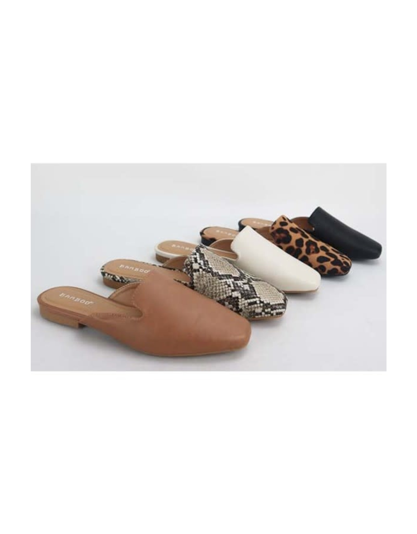 Sweep - Faux leather flat mules (leopard)