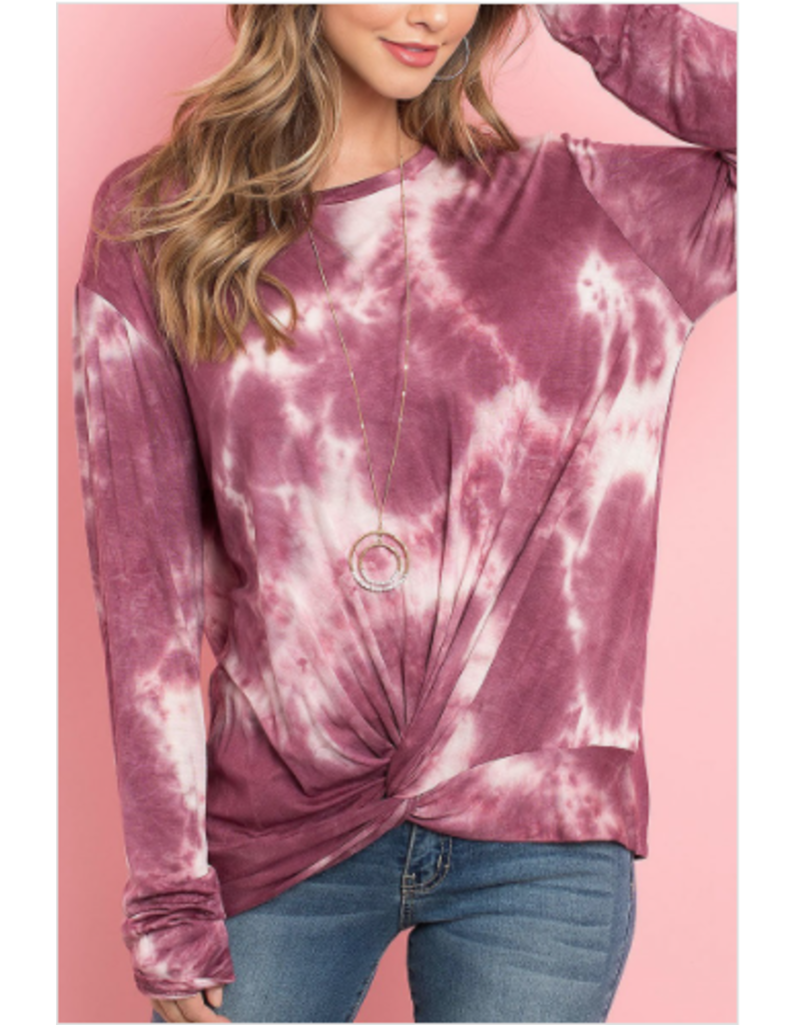 Rhea - Tie dye top with twist hem