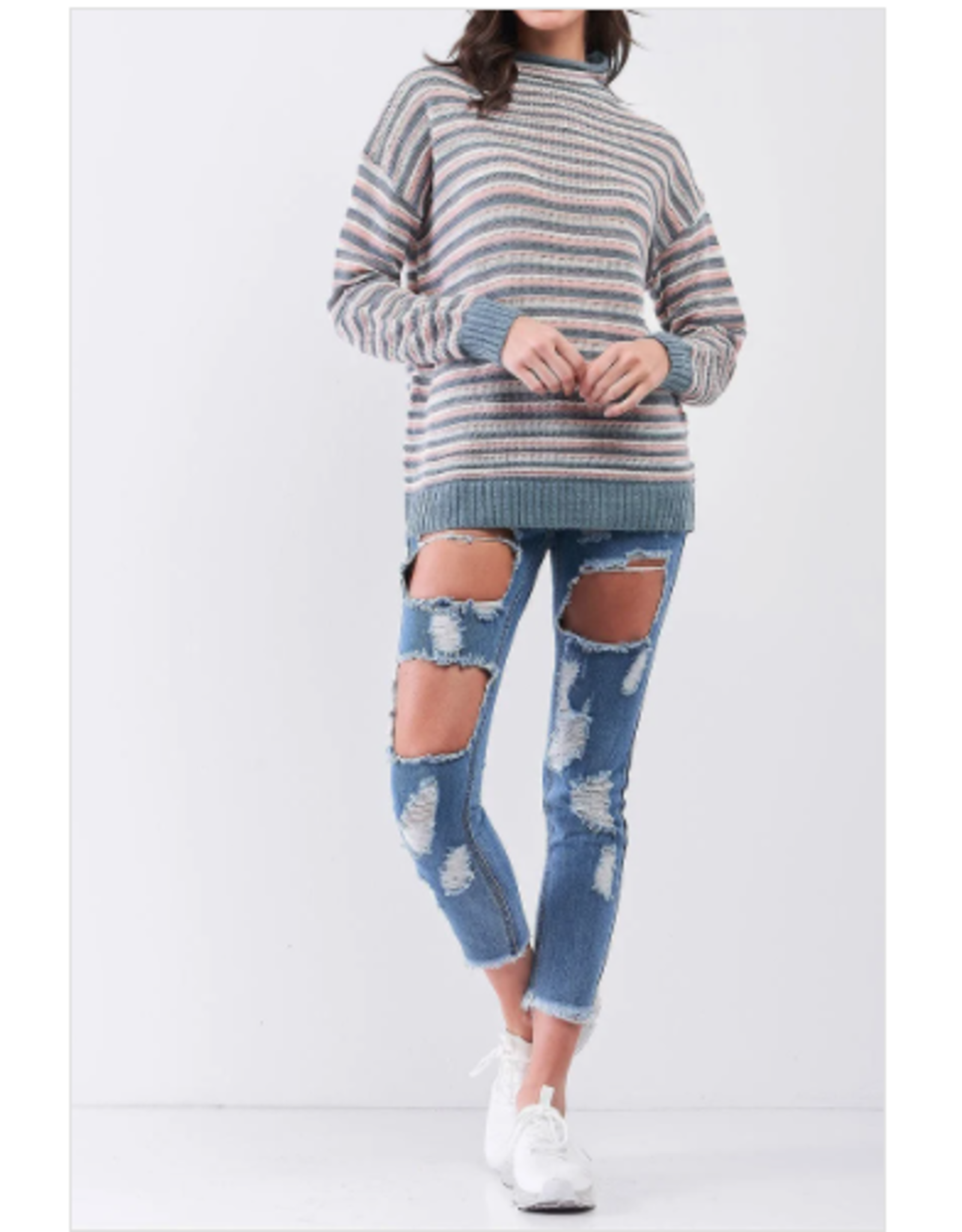 Elora - High neck striped sweater