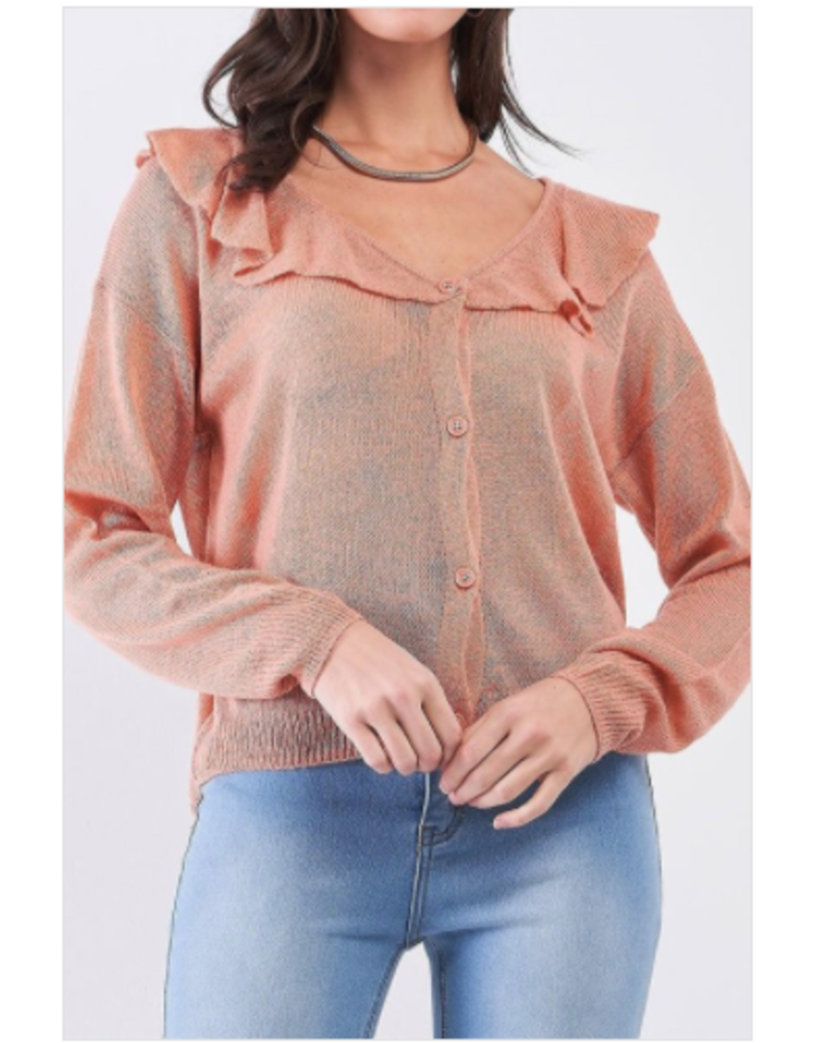 Adley - Button front cardi with ruffle trim