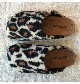 Kylie - Fuzzy sandals (leopard)