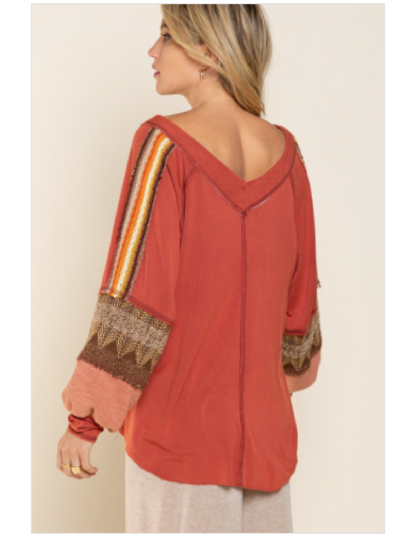 Sonia - Mixed print top (terracotta)