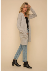 Speckle knit hooded cardigan