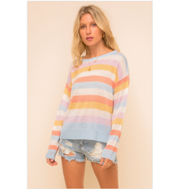 RD Style Striped boat neck sweater