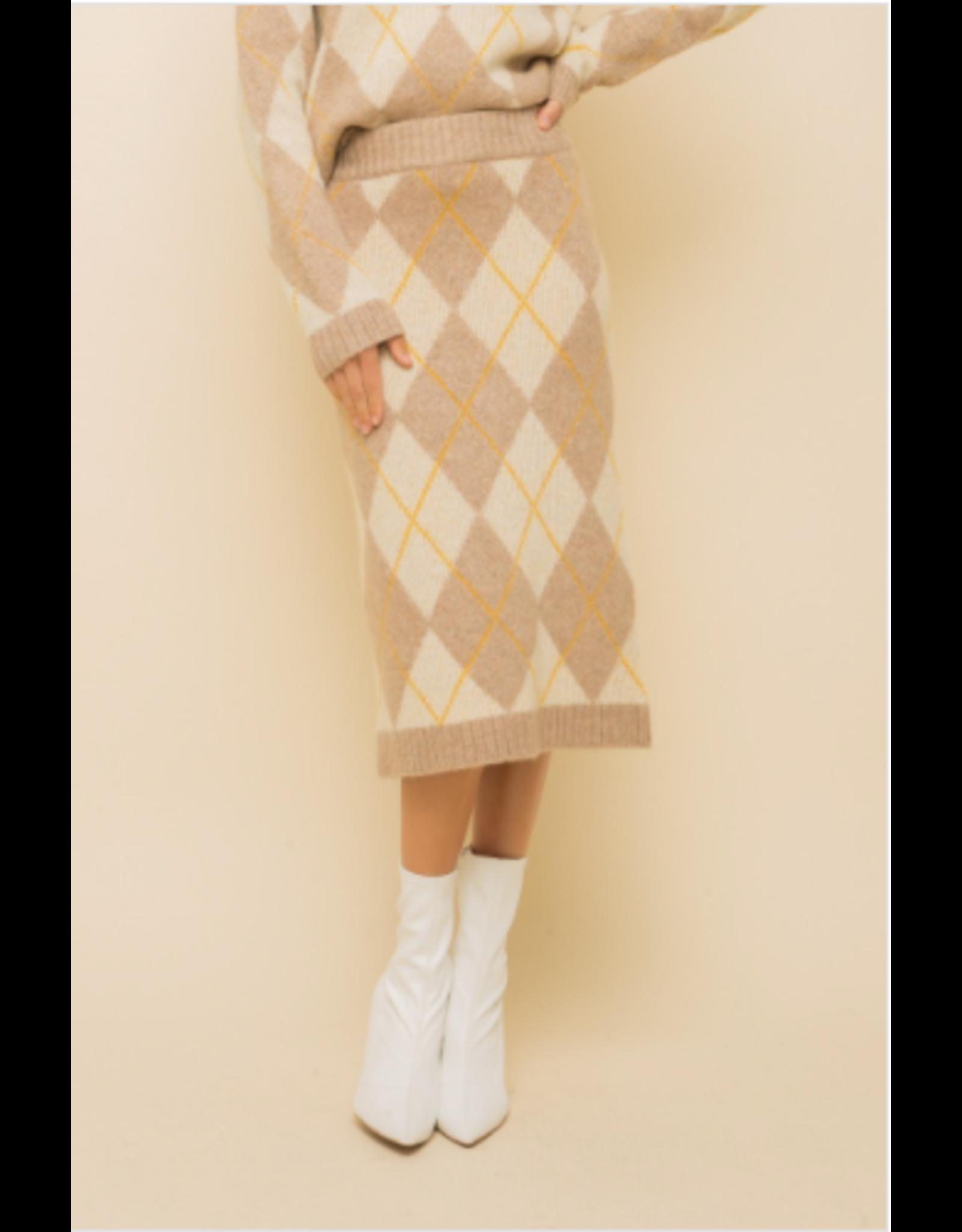 Birdie - Argyle print midi sweater skirt