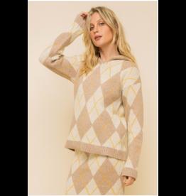 Clem - Argyle hoodie sweater