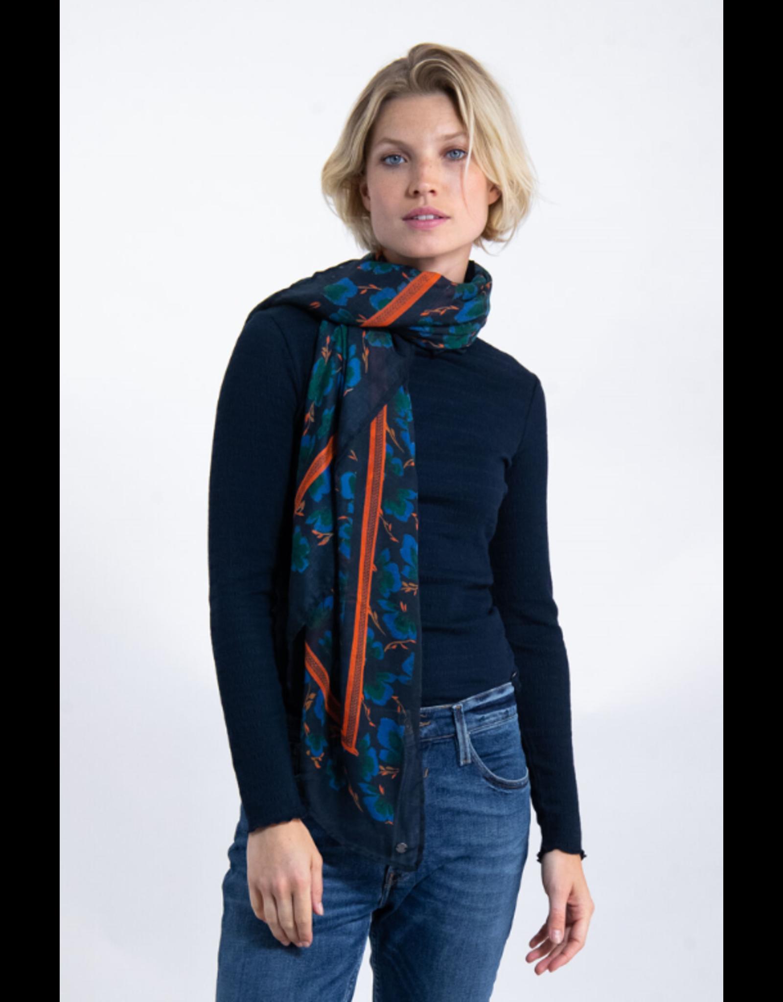 Garcia Printed blue scarf