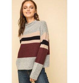Maya - Mock neck sweater with heavy stripe