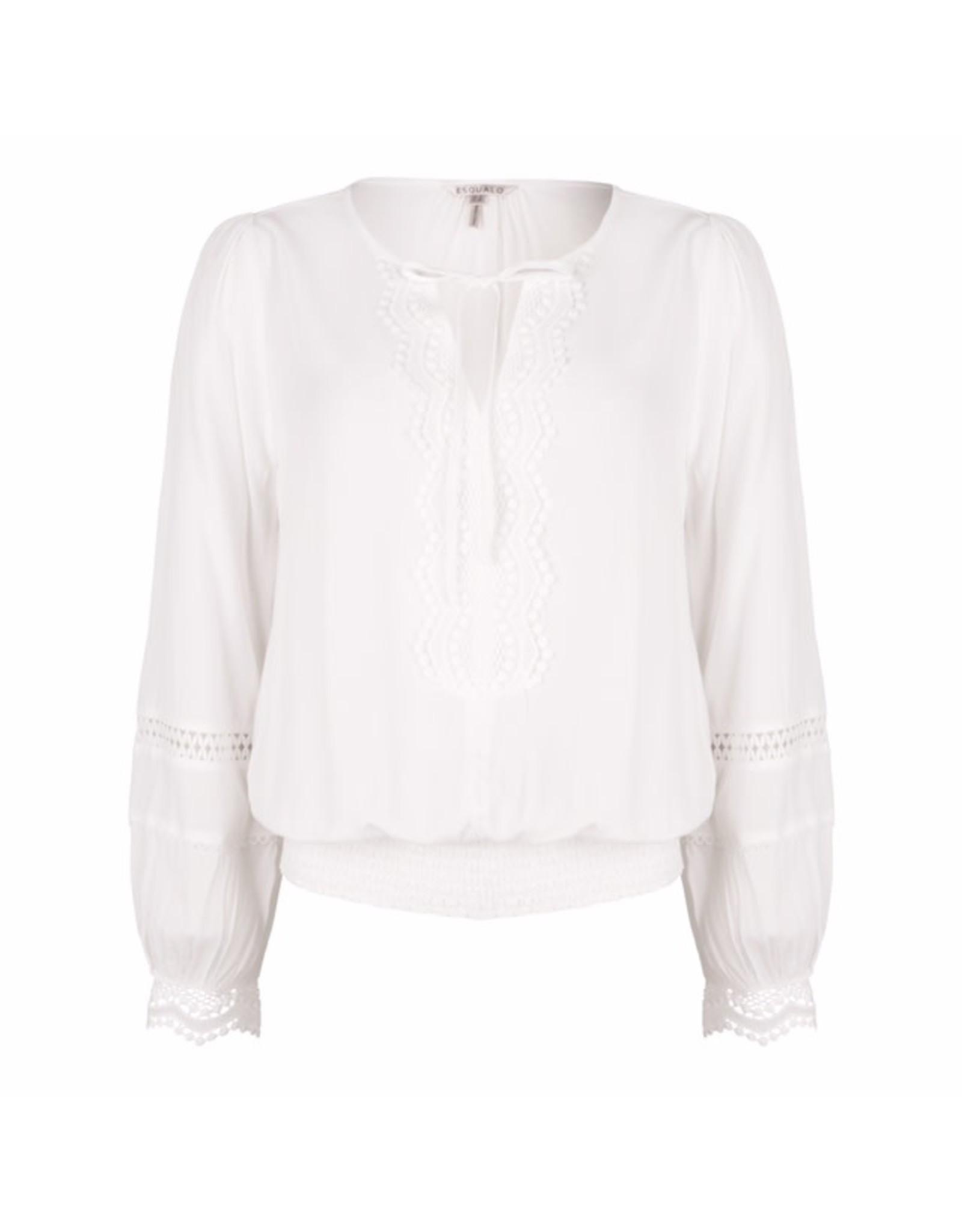 EsQualo EsQualo - Smocked lace blouse