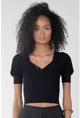 Molly Bracken Molly Bracken - Ribbed knit cropped sweater (black)