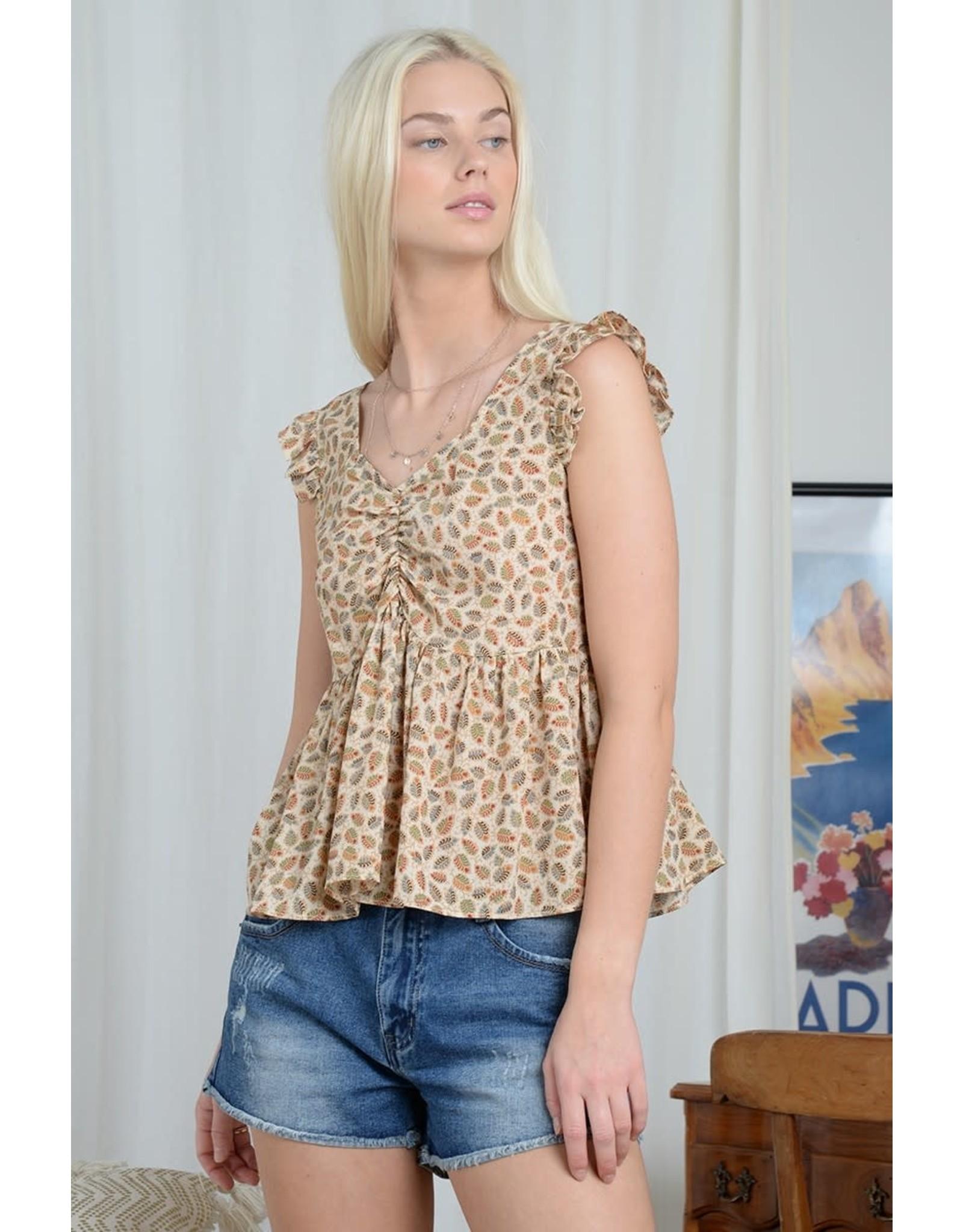 Molly Bracken Molly Bracken - Print top with lace up back(Delhi cream)