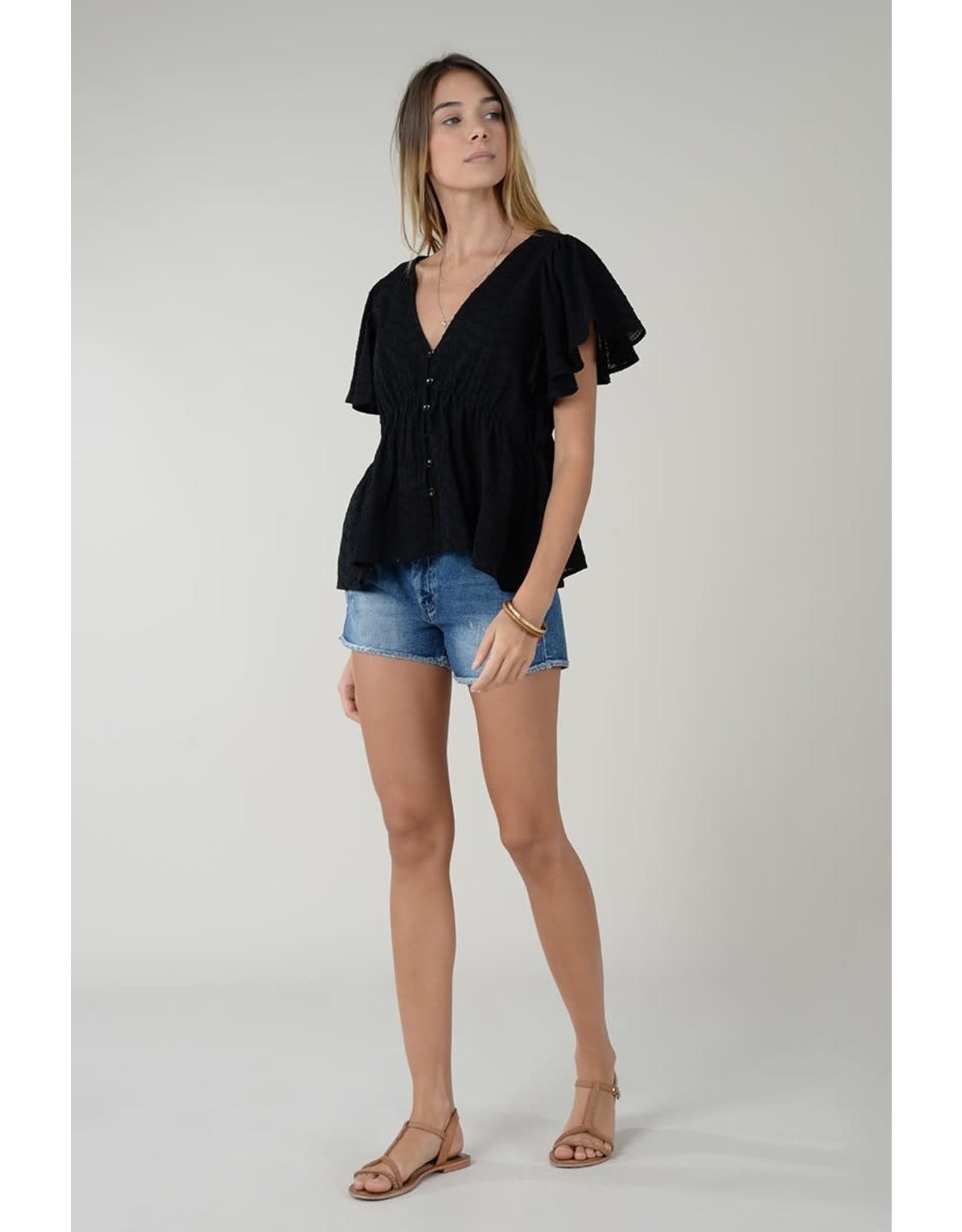 Molly Bracken Molly Bracken - Ruffle sleeve top (black)