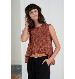Molly Bracken Molly Bracken - Printed flared top (retro rust)