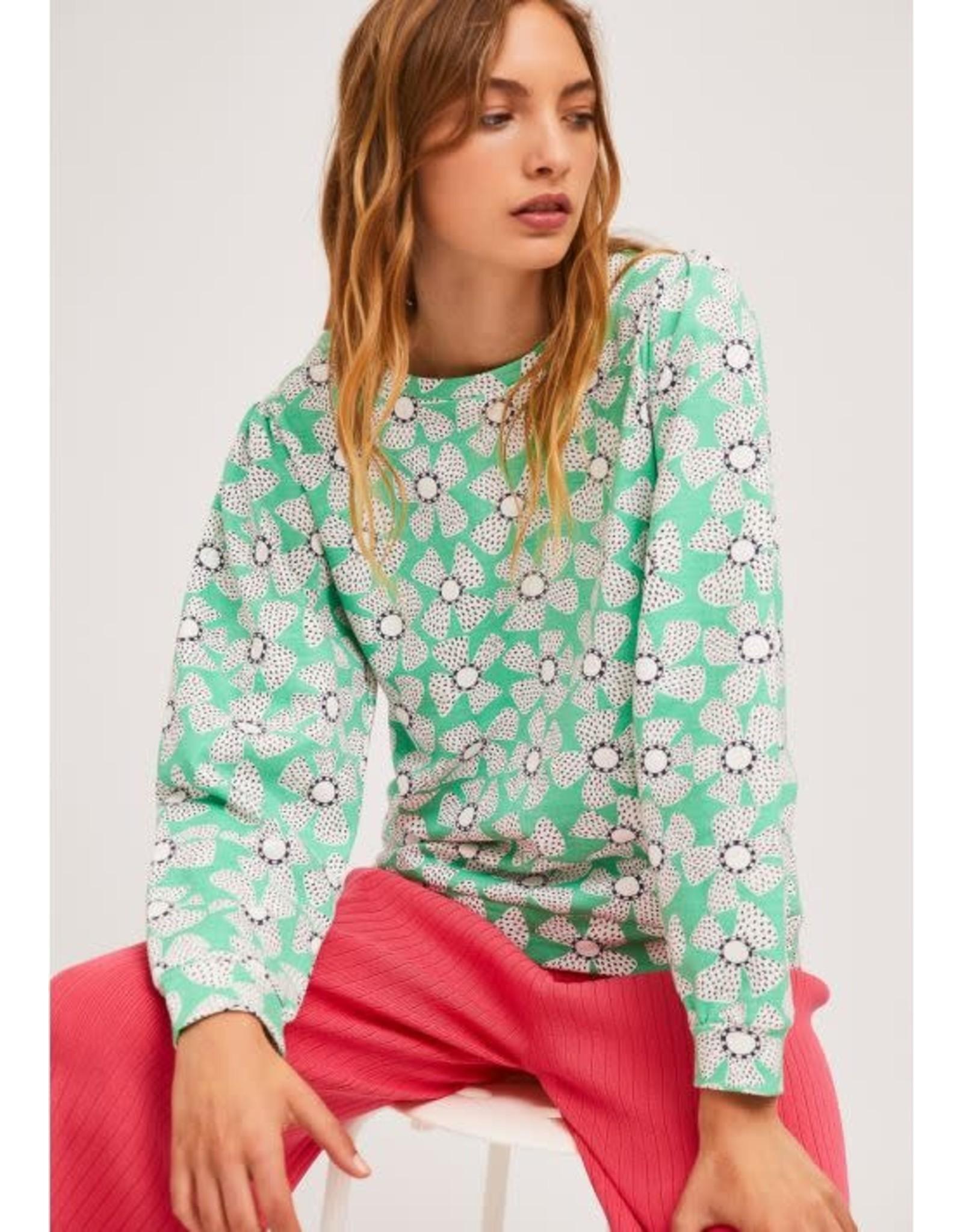Compania Fantastica Compania Fantastica - Floral print sweatshirt (mint)