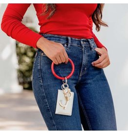 O Venture Embossed leather key ring (cherry on top croc)