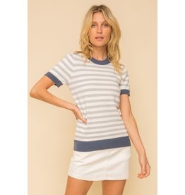 Maeve - Soft knit top with contrast trim
