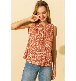 Chloe - Floral print sleeveless blouse (rust)