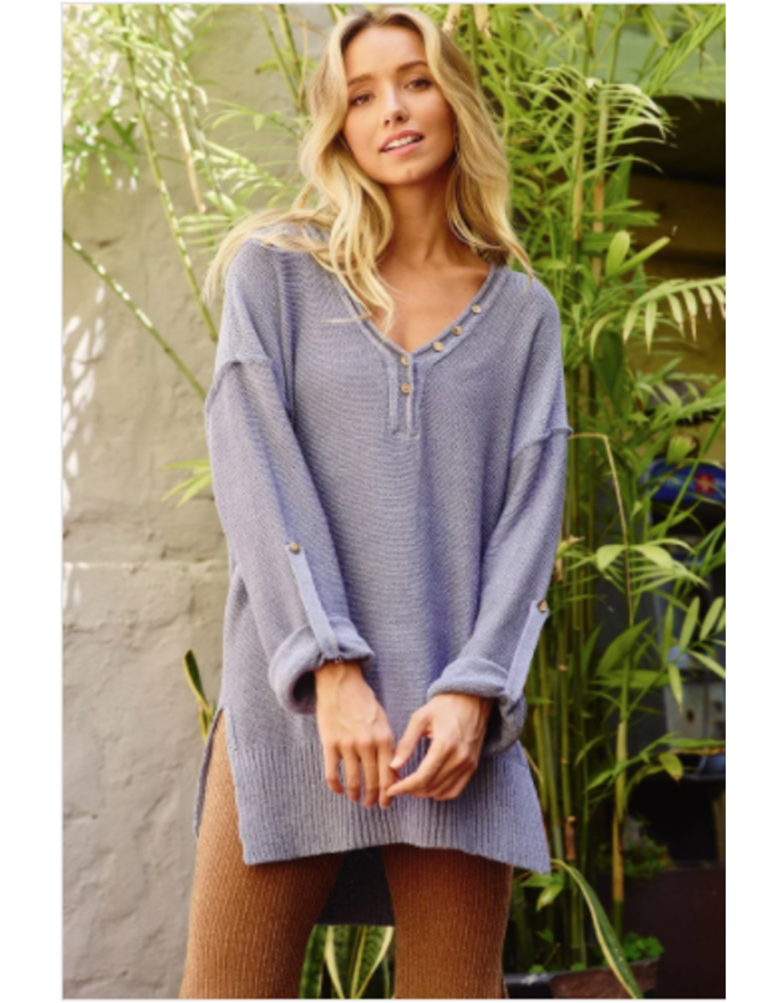 Ces Femme Effie - Sweater with roll up sleeves (chambray)