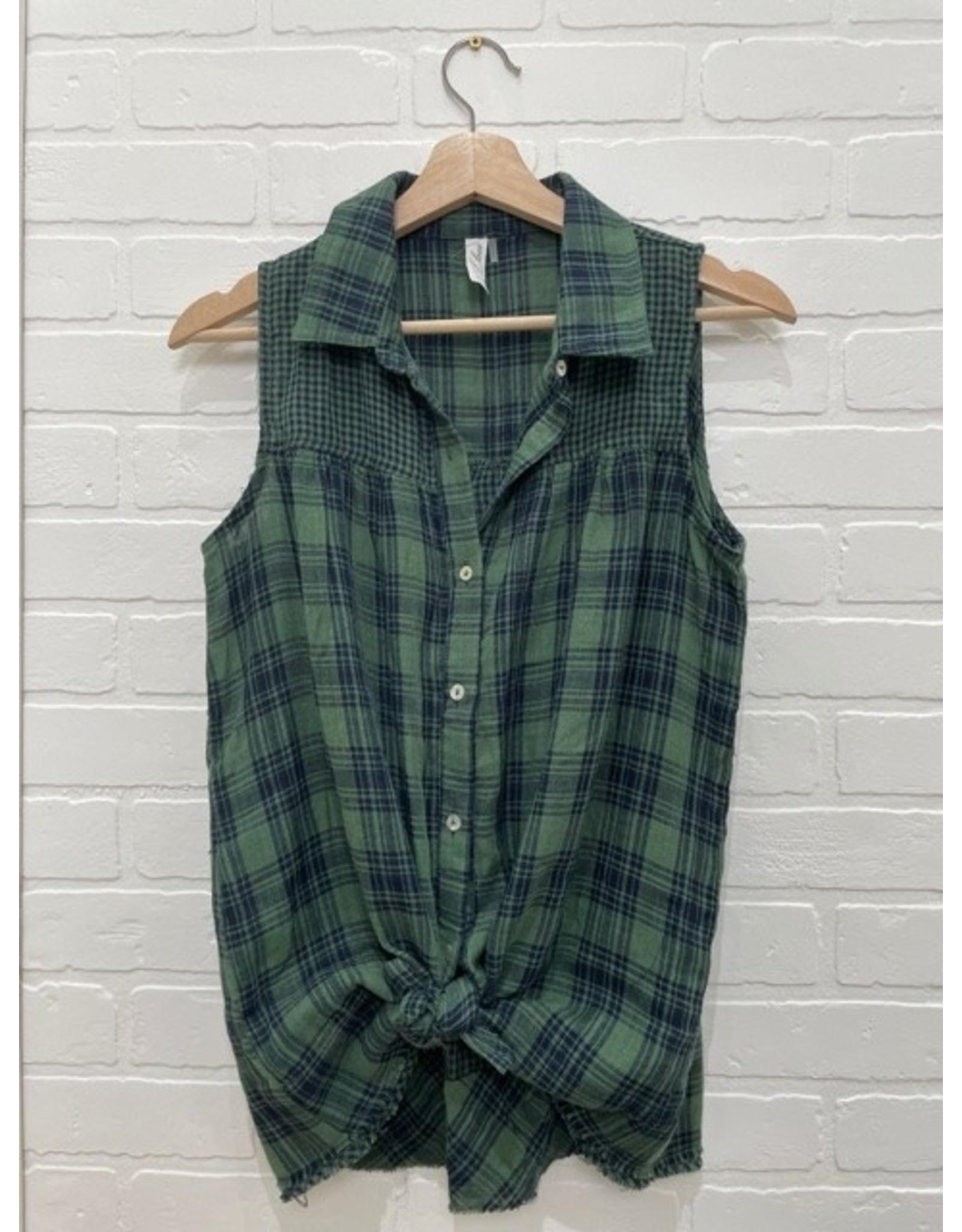 Arden - plaid sleeveless button down shirt (2 colours)
