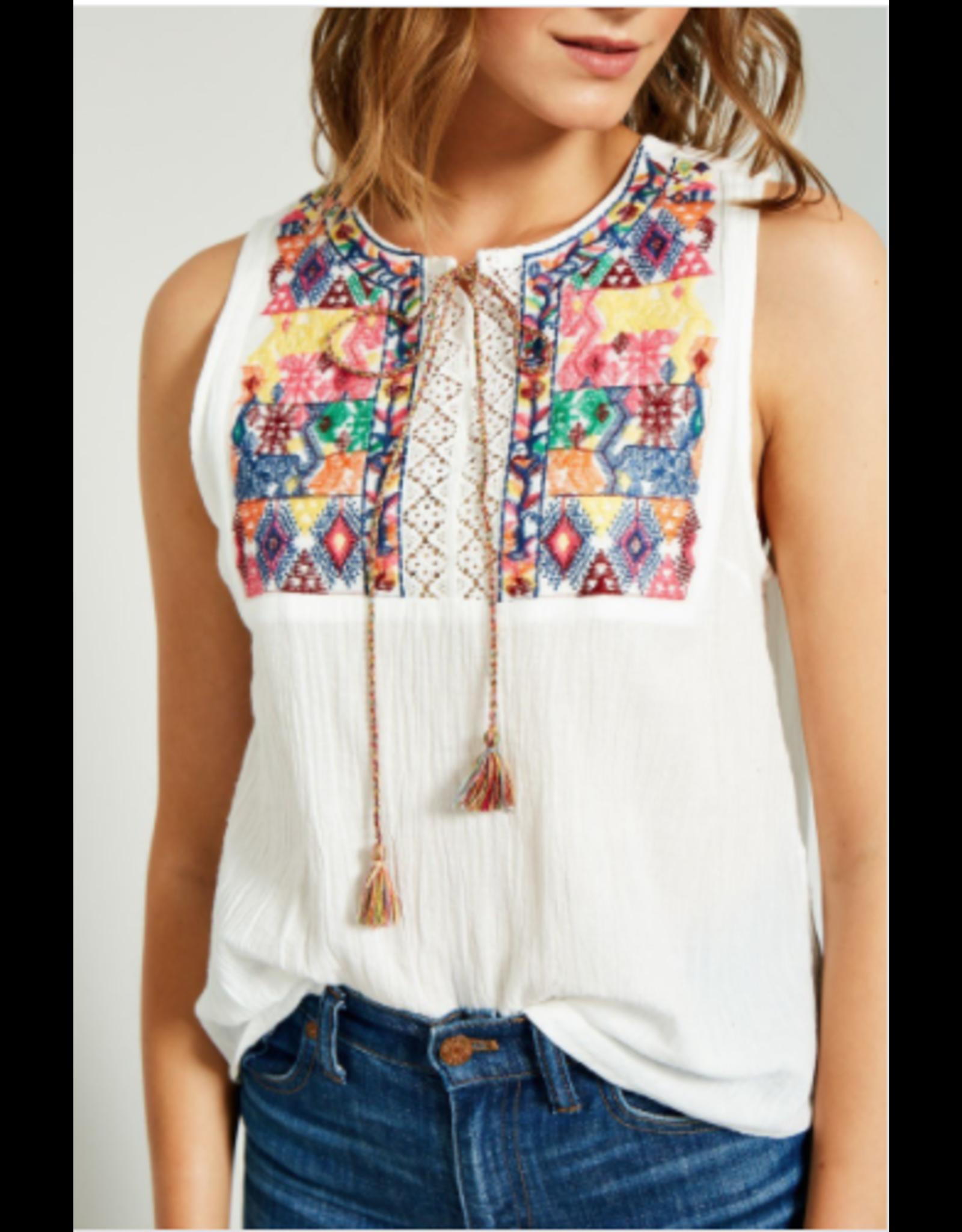 Hayden Danica - Embroidered tie front top
