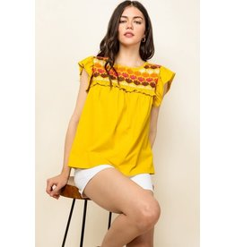 THML Annabelle - Embroidered ruffle sleeve top (mustard)