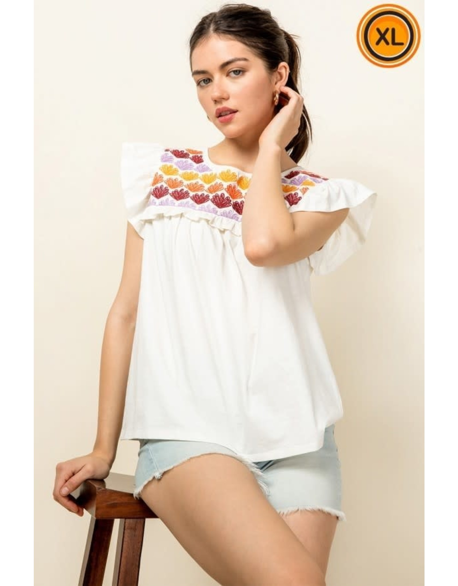 THML Annabelle - Embroidered ruffle sleeve top (white)