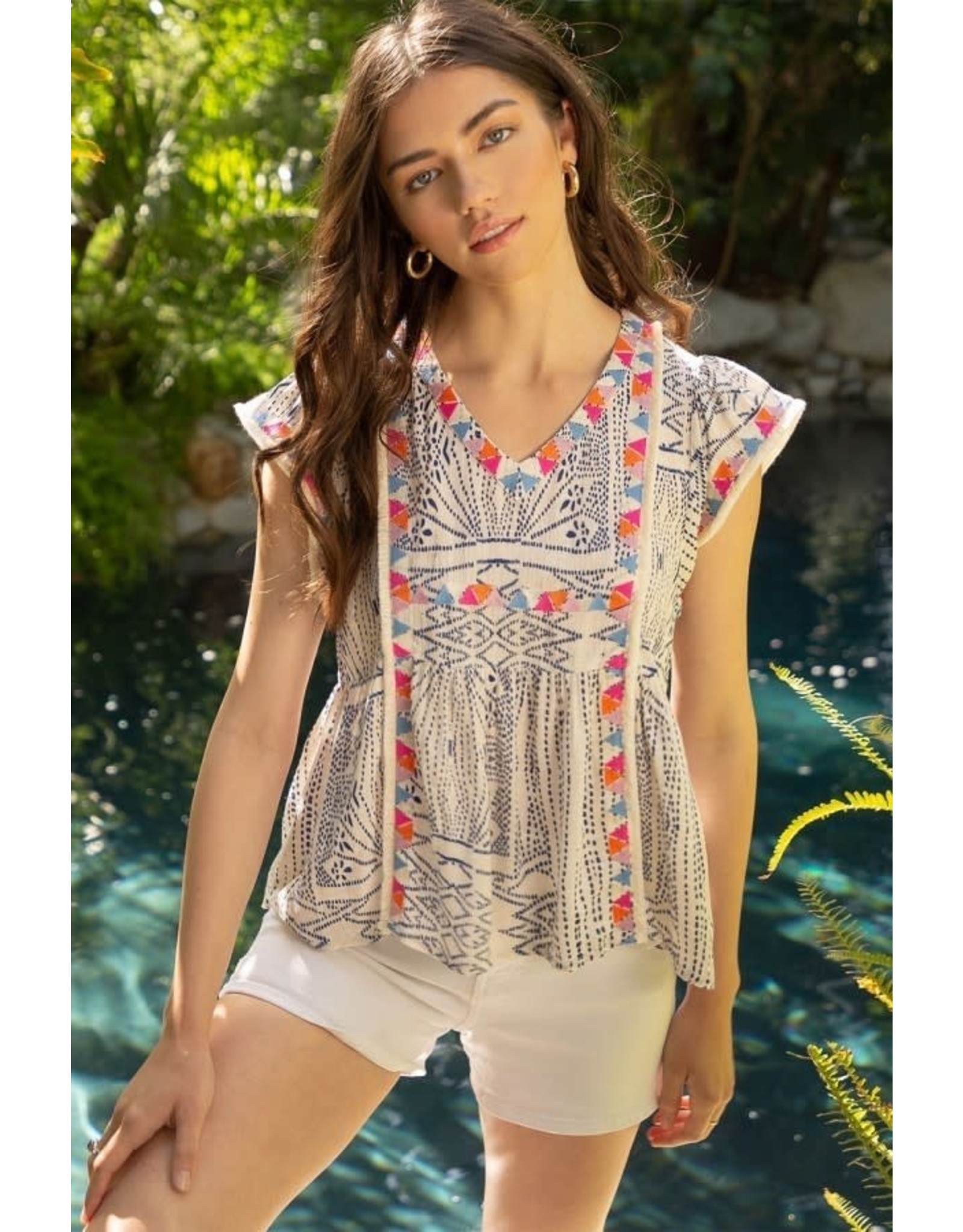 THML Peony - Embroidered v-neck flutter sleeve top