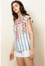 THML Esme - Striped embroidered top