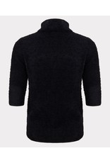 EsQualo EsQualo - Short sleeve fuzzy turtleneck sweater (black)