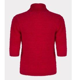 EsQualo EsQualo - Short sleeve fuzzy turtleneck sweater (hot pink)