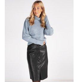 EsQualo EsQualo - Button front faux leather skirt (black)