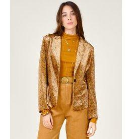 Molly Bracken Molly Bracken - Printed velvet blazer (ochre)