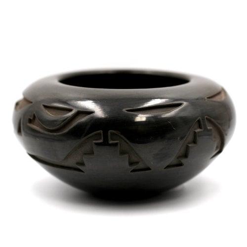Treasures of Ojai Santa Clara Pueblo Carved Blackware Pot
